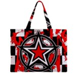 Star Checkerboard Splatter Zipper Mini Tote Bag