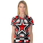 Star Checkerboard Splatter V-Neck Sport Mesh Tee
