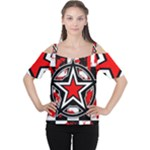 Star Checkerboard Splatter Cutout Shoulder Tee