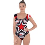 Star Checkerboard Splatter Short Sleeve Leotard
