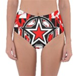 Star Checkerboard Splatter Reversible High-Waist Bikini Bottoms