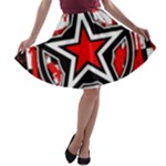 Star Checkerboard Splatter A-line Skater Skirt