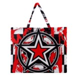 Star Checkerboard Splatter Zipper Large Tote Bag