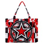 Star Checkerboard Splatter Zipper Medium Tote Bag