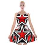 Star Checkerboard Splatter Velvet Skater Dress