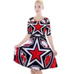 Star Checkerboard Splatter Quarter Sleeve A-Line Dress
