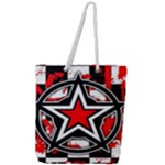 Star Checkerboard Splatter Full Print Rope Handle Tote (Large)