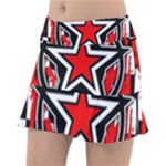 Star Checkerboard Splatter Tennis Skirt