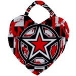 Star Checkerboard Splatter Giant Heart Shaped Tote