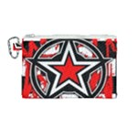Star Checkerboard Splatter Canvas Cosmetic Bag (Medium)