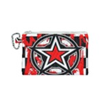 Star Checkerboard Splatter Canvas Cosmetic Bag (Small)