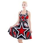 Star Checkerboard Splatter Halter Party Swing Dress