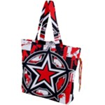 Star Checkerboard Splatter Drawstring Tote Bag