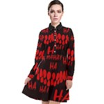 Demonic Laugh, Spooky red teeth monster in dark, Horror theme Long Sleeve Chiffon Shirt Dress