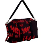 Demonic Laugh, Spooky red teeth monster in dark, Horror theme Canvas Crossbody Bag