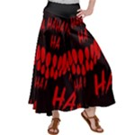 Demonic Laugh, Spooky red teeth monster in dark, Horror theme Satin Palazzo Pants