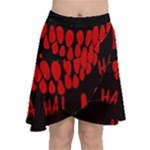 Demonic Laugh, Spooky red teeth monster in dark, Horror theme Chiffon Wrap Front Skirt