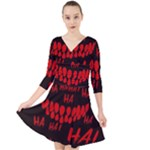 Demonic Laugh, Spooky red teeth monster in dark, Horror theme Quarter Sleeve Front Wrap Dress