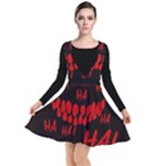 Demonic Laugh, Spooky red teeth monster in dark, Horror theme Plunge Pinafore Dress