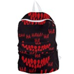 Demonic Laugh, Spooky red teeth monster in dark, Horror theme Foldable Lightweight Backpack
