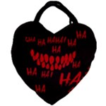 Demonic Laugh, Spooky red teeth monster in dark, Horror theme Giant Heart Shaped Tote