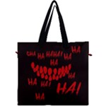 Demonic Laugh, Spooky red teeth monster in dark, Horror theme Canvas Travel Bag