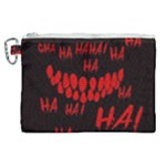 Demonic Laugh, Spooky red teeth monster in dark, Horror theme Canvas Cosmetic Bag (XL)