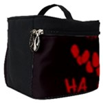 Demonic Laugh, Spooky red teeth monster in dark, Horror theme Make Up Travel Bag (Small)