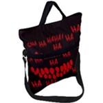 Demonic Laugh, Spooky red teeth monster in dark, Horror theme Fold Over Handle Tote Bag