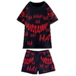 Demonic Laugh, Spooky red teeth monster in dark, Horror theme Kids  Swim Tee and Shorts Set