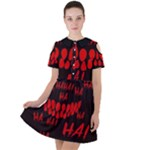 Demonic Laugh, Spooky red teeth monster in dark, Horror theme Short Sleeve Shoulder Cut Out Dress