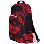 Demonic Laugh, Spooky red teeth monster in dark, Horror theme Double Compartment Backpack