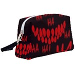 Demonic Laugh, Spooky red teeth monster in dark, Horror theme Wristlet Pouch Bag (Large)