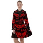 Demonic Laugh, Spooky red teeth monster in dark, Horror theme All Frills Chiffon Dress