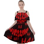 Demonic Laugh, Spooky red teeth monster in dark, Horror theme Cut Out Shoulders Chiffon Dress