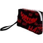 Demonic Laugh, Spooky red teeth monster in dark, Horror theme Wristlet Pouch Bag (Small)