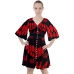 Demonic Laugh, Spooky red teeth monster in dark, Horror theme Boho Button Up Dress