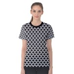 Black and white Triangles pattern, geometric Women s Cotton Tee