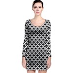Black and white Triangles pattern, geometric Long Sleeve Bodycon Dress