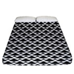 Black and white Triangles pattern, geometric Fitted Sheet (Queen Size)