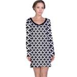Black and white Triangles pattern, geometric Long Sleeve Nightdress