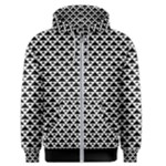 Black and white Triangles pattern, geometric Men s Zipper Hoodie