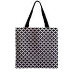 Black and white Triangles pattern, geometric Zipper Grocery Tote Bag