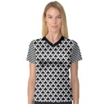 Black and white Triangles pattern, geometric V-Neck Sport Mesh Tee