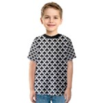 Black and white Triangles pattern, geometric Kids  Sport Mesh Tee