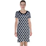 Black and white Triangles pattern, geometric Short Sleeve Nightdress