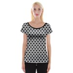 Black and white Triangles pattern, geometric Cap Sleeve Top