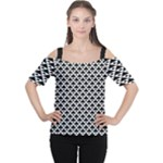 Black and white Triangles pattern, geometric Cutout Shoulder Tee