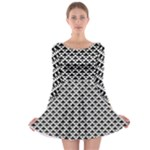 Black and white Triangles pattern, geometric Long Sleeve Skater Dress
