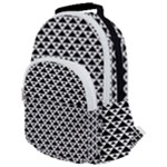Black and white Triangles pattern, geometric Rounded Multi Pocket Backpack